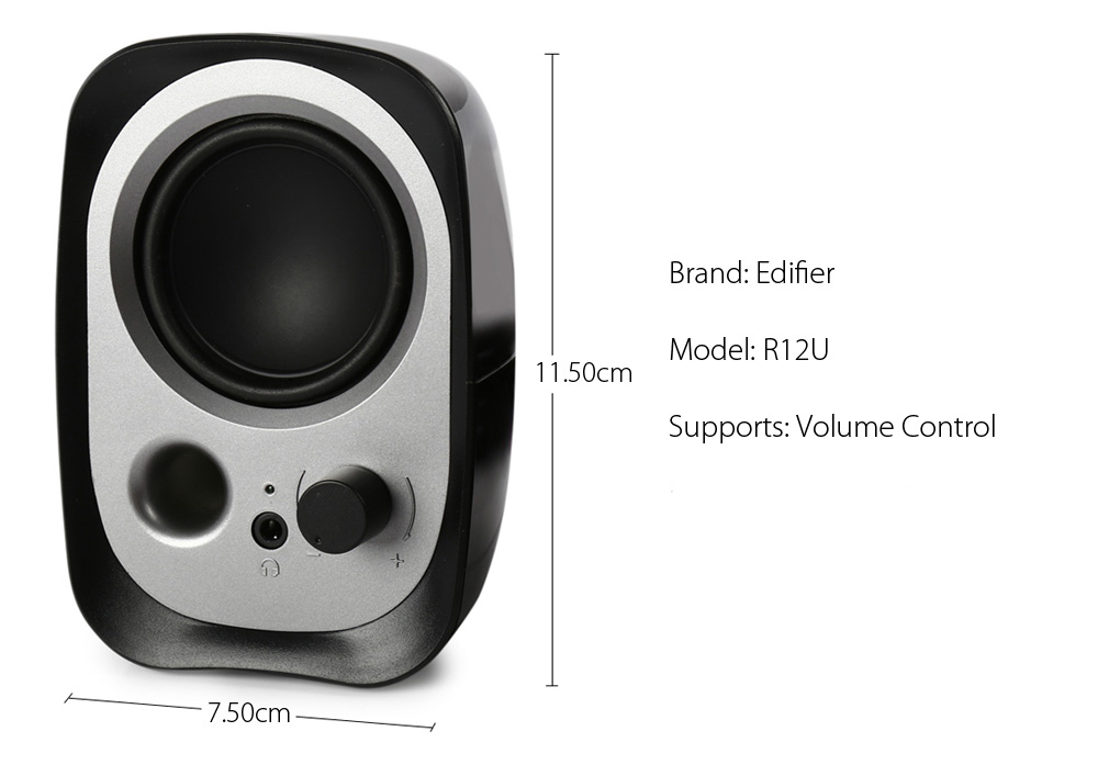 Original EDIFIER R12U 2.0 Double-horn Multimedia Speaker Wired Audio Player with Volume Control