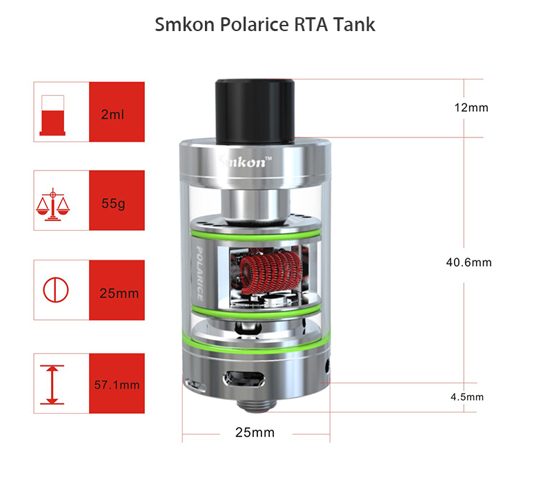 Original Smkon Polarice RTA Tank Atomizer with 2.0ml Capacity / Top Filling / Dual Posts for E Cigarette