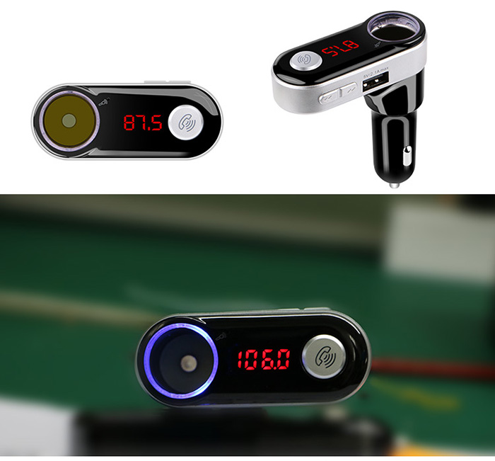 Bluetooth 3.0 + EDR Hands-free Car Charger Dual USB 5V 2.1A FM Transmitter Wireless Phone Call MP3 Music Play