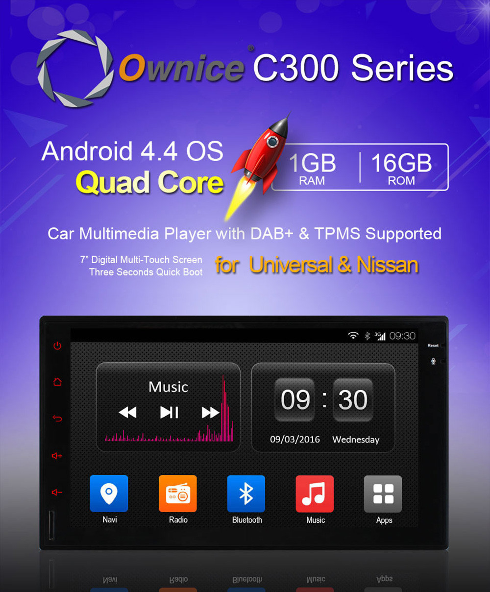 Ownice OL - 7001T 2 Din In-dash 7 inch Car GPS Multi-media Player Android 4.4  Quad Core AC8327 1GB RAM 16GB ROM Bluetooth WiFi FM AM