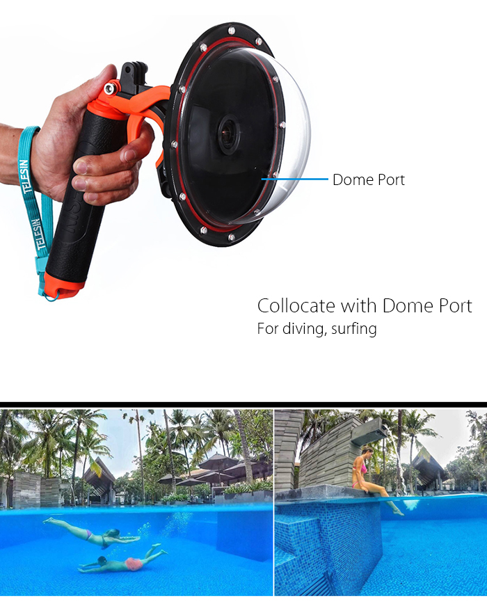 TELESIN GP - MNP - 300 - YL Handheld Floaty Grip Bobber Selfie Stick for Action Sport Camera