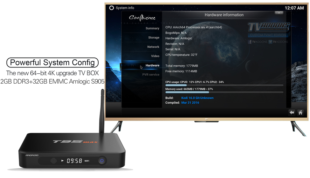 Sunvell T95 Max Android TV Box Quad Core Amlogic S905 H.265 2.4G + 5G Dual WiFi Bluetooth 4.0 2GB DDR3 RAM 32GB eMMC ROM