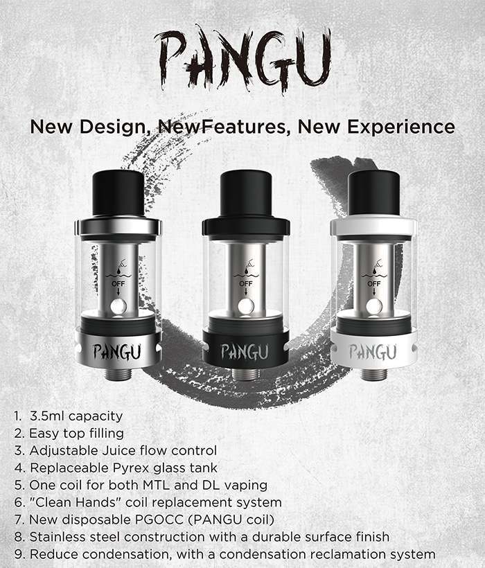 Original Kanger Pangu Tank Atomizer Clearomizer with 3.5ml / 0.5ohm SS316L Coil / 1.5ohm NiCr Coil / Unique Top Filling / Condensation Reclamation System for E Cigarette