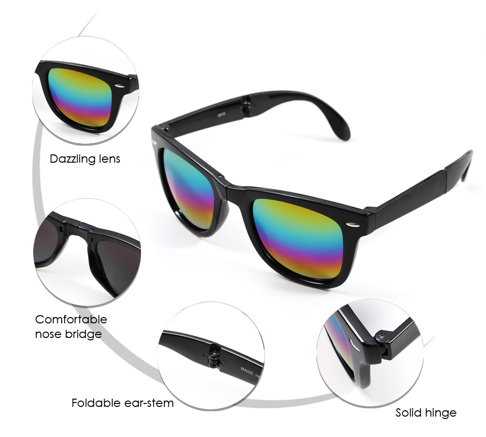 Unisex Foldable Sunglasses with PC Frame / AC Resin Lens