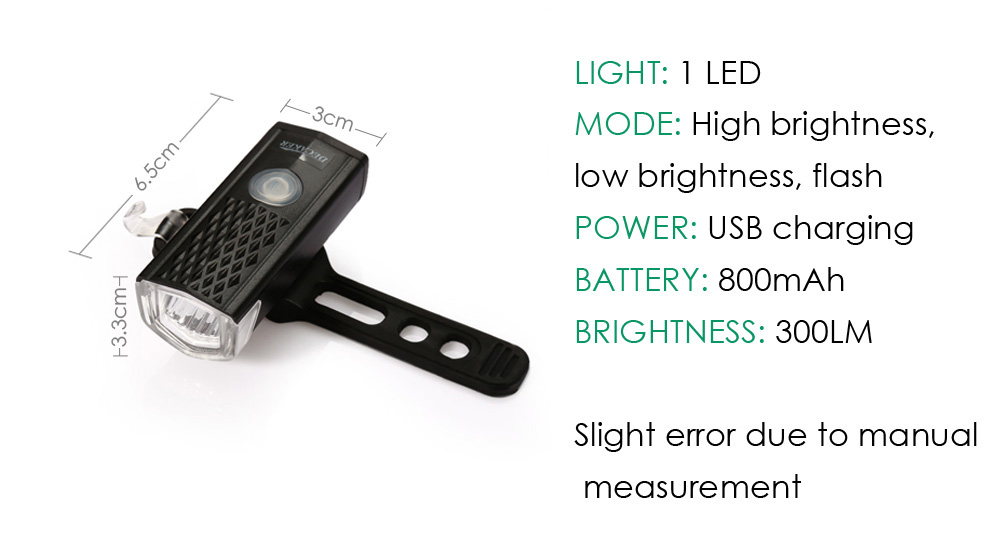 DECAKER 2255 300LM 3W LED 3 Modes Bicycle Front Light