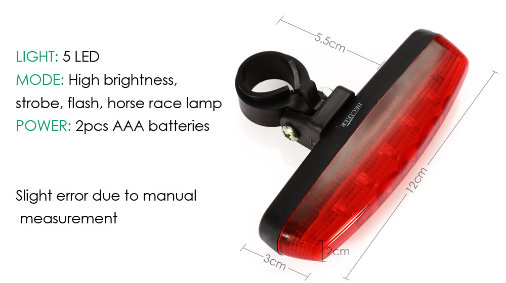 DECAKER 5 LEDs 4 Modes Bicycle Tail Light