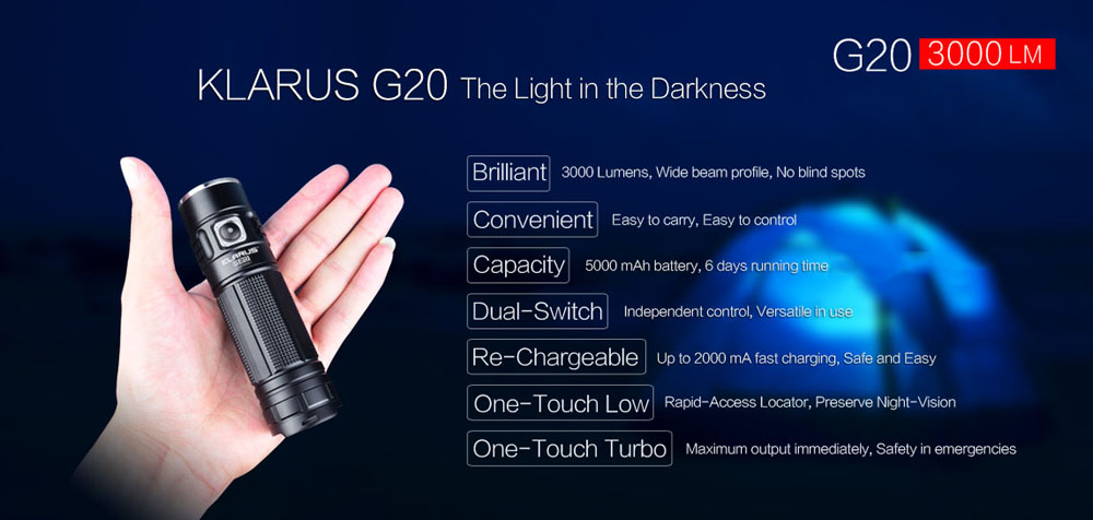 Klarus G20 Cree XHP70 N4 3000LM Portable LED Flashlight Searchlight
