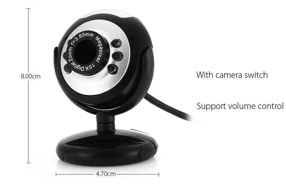 USB Webcam PC Camera with 3.5mm Port Support Volume Control