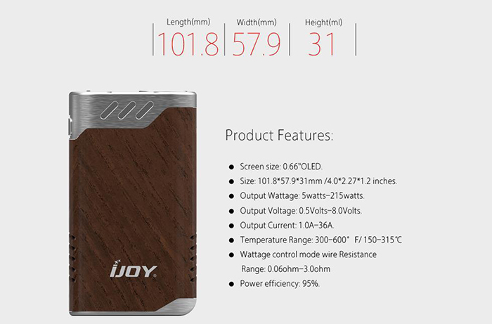 Original IJOY Limitless LUX Dual 26650 215W TC Box Mod with 8400mAh / Interchangeable Cover / IWEPAL Chip / Firmware Upgradeable / Supporting Ti / Ni / SS Wire E Cigarette Vape Mod