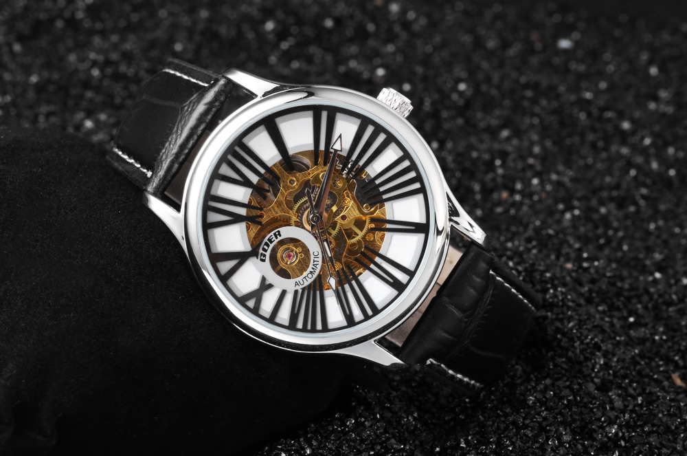 GOER HY - 017 Fashion Double-sided Hollow-out Dial Automatic Mechanical Watch for Men