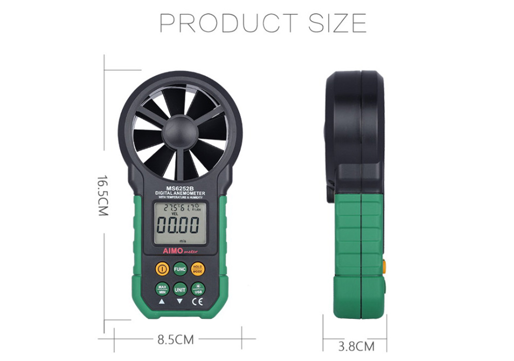 AIMOMETER MS6252B Handheld Digital Anemometer Air Speed Velocity Meter with Temperature / Humidity Test Function