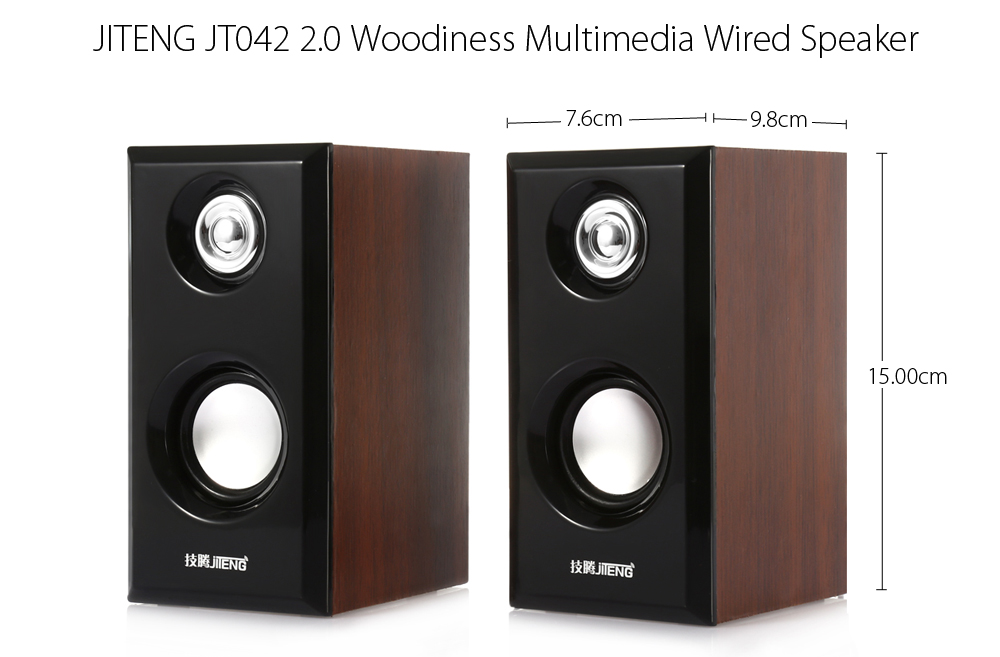 JITENG JT042 2.0 Double-horn Multimedia Speaker Wired Audio Player with Volume Control