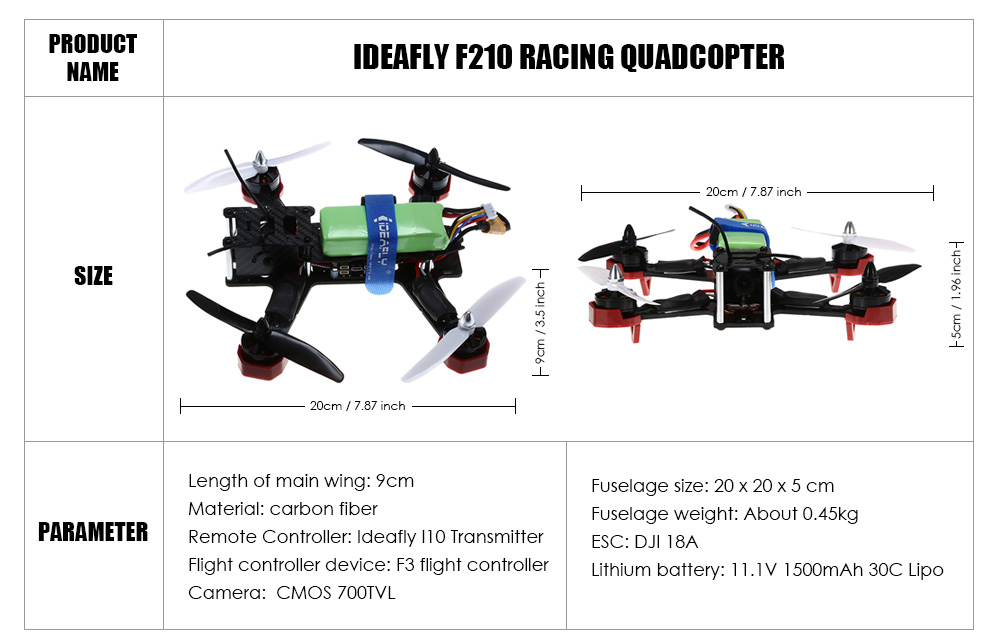 Ideafly F210 5.8G FPV 700TVL HD Camera 10 Channel 2.4G Quadcopter with F3 Flight Controller / I10 Transmitter