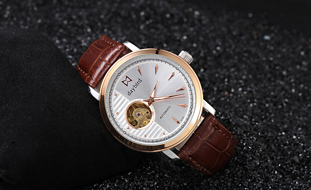 daybird 3772 Double Sided Hollow-out Dial Automatic Mechanical Watch for Men