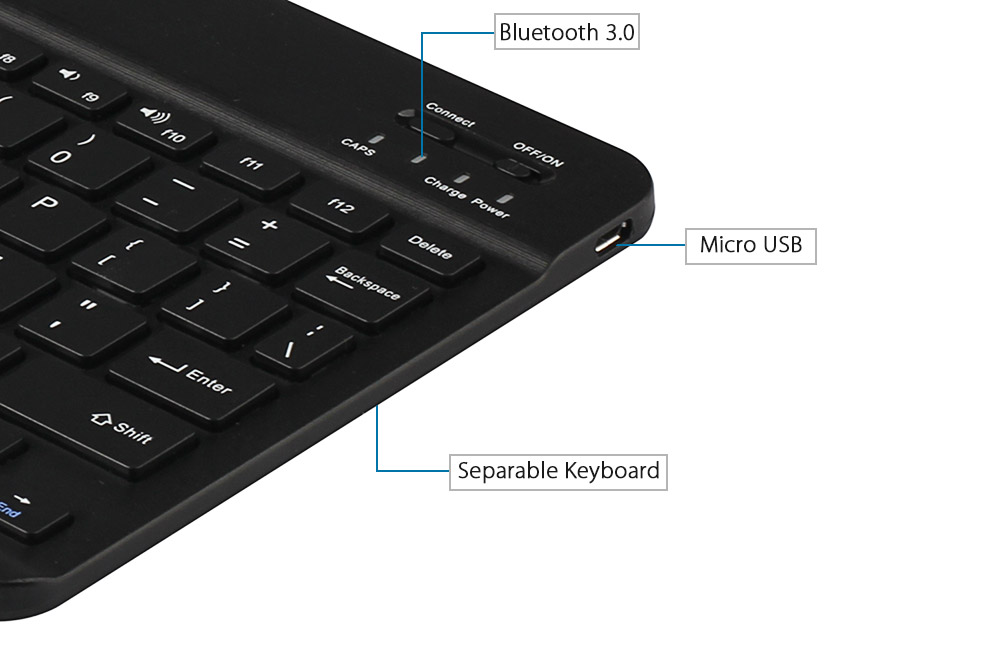 Original Chuwi Hi10 Chargeable Bluetooth 3.0 Keyboard with Foldable PU Protective Case Magnetic Suction Stand Function