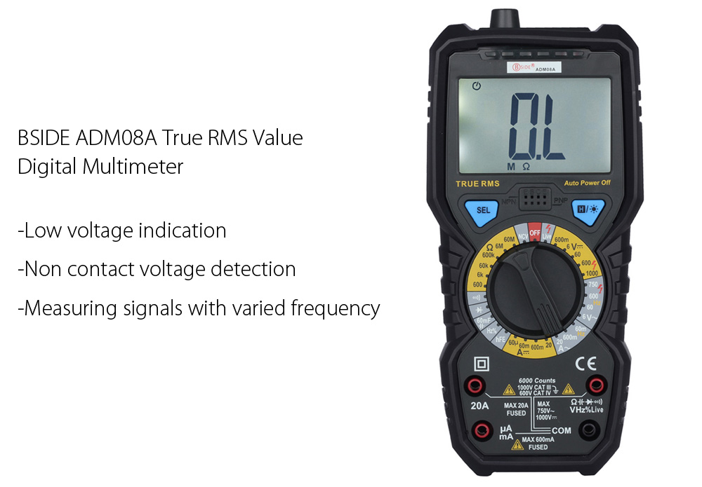BSIDE ADM08A True RMS Value Digital Multimeter Temperature Capacitance Frequency Test