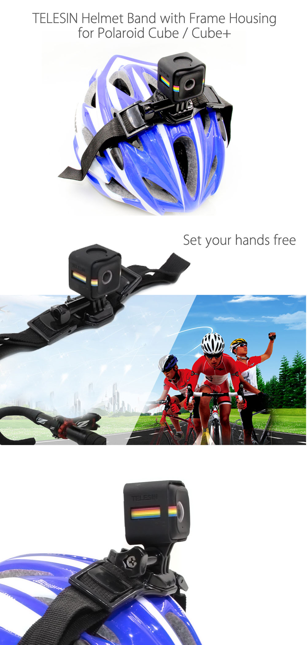 TELESIN Helmet Band with Cage Housing for Polaroid Cube / Cube+ Action Camera