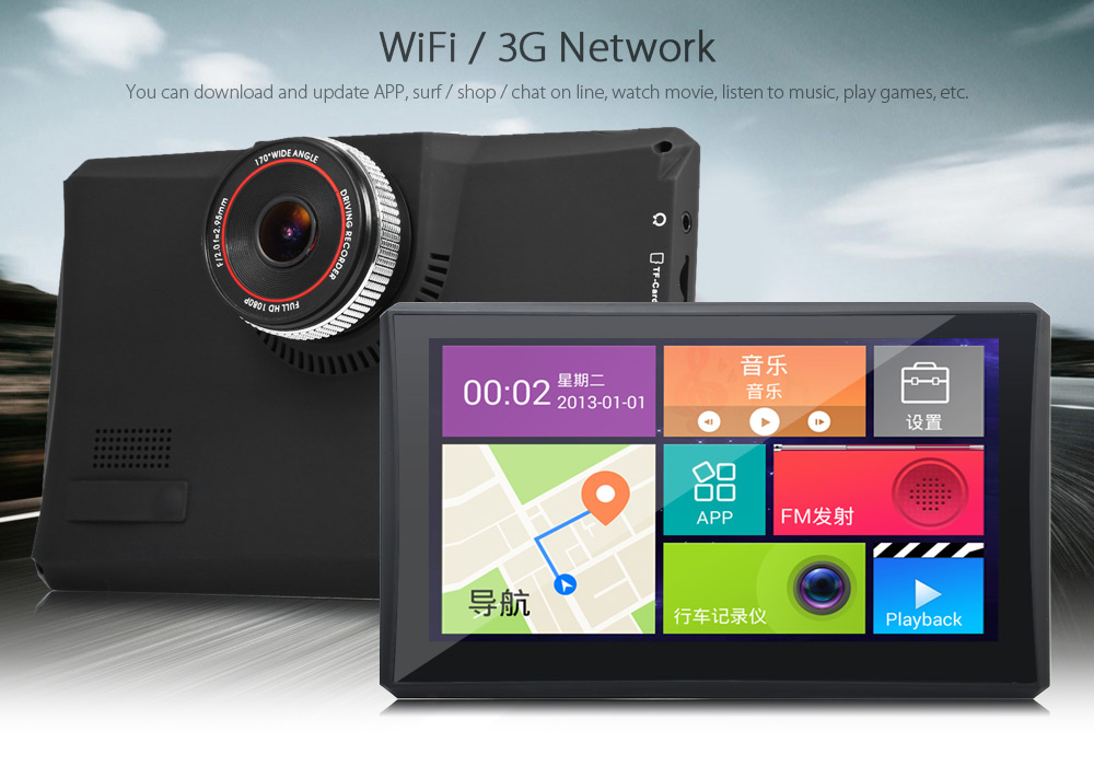 902 7 inch Android 4.4 Car Tablet GPS 170 Degree Wide Angle 1080P DVR Recorder 3G FM Transmitter Multi-media Player WiFi