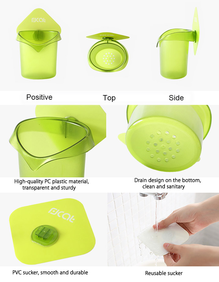 Kitchen Bathroom Toothbrush Holder for Daily Use with Powerful Sucker Small Gadget Home Supply