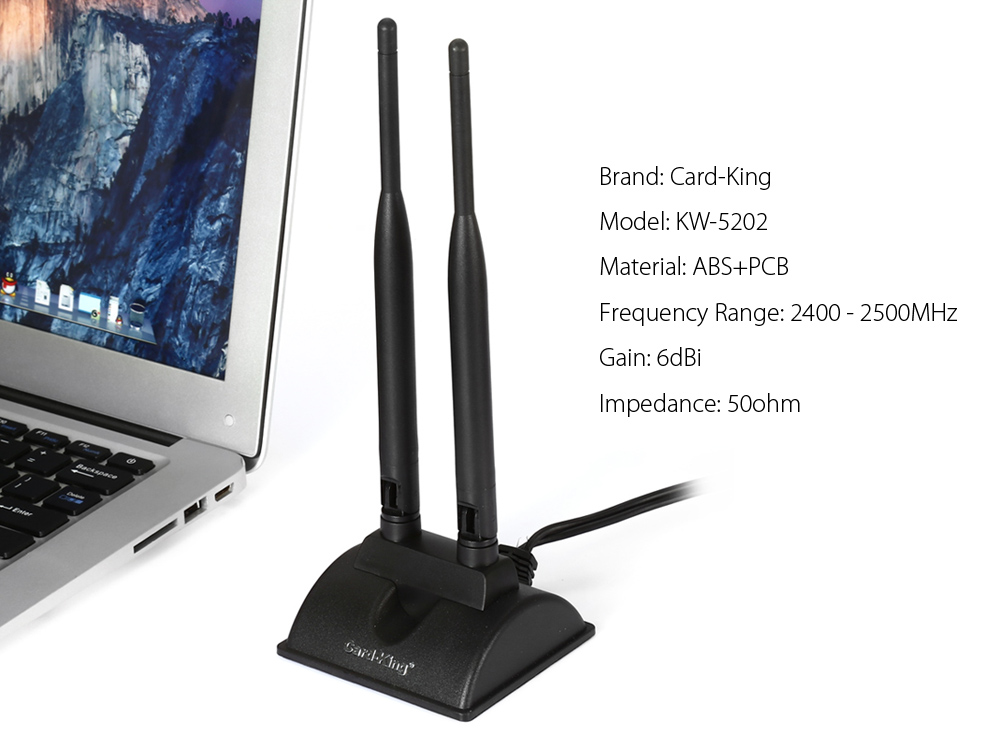Card - King KW - 5202 2.4GHz 6dBi SMA High Gain Dual Antenna