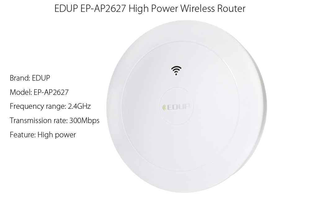 EDUP EP - AP2627 2.4GHz 300Mbps Wireless Ceiling Router WiFi Signal Amplifier