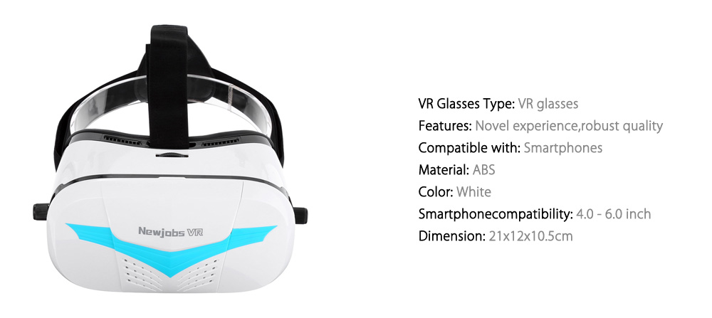 NEWJOBS VR Virtual Reality 3D Glasses IPD Focal Lens Adjustment for 4 - 6 inch Smartphone