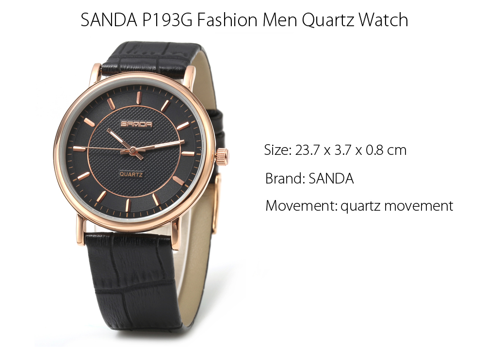 SANDA P193G Fashion Nail Scale Quartz Watch for Men