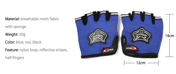 Mesh Fabric Half-fingers Sports Cycling Gloves with Reflective Stripe