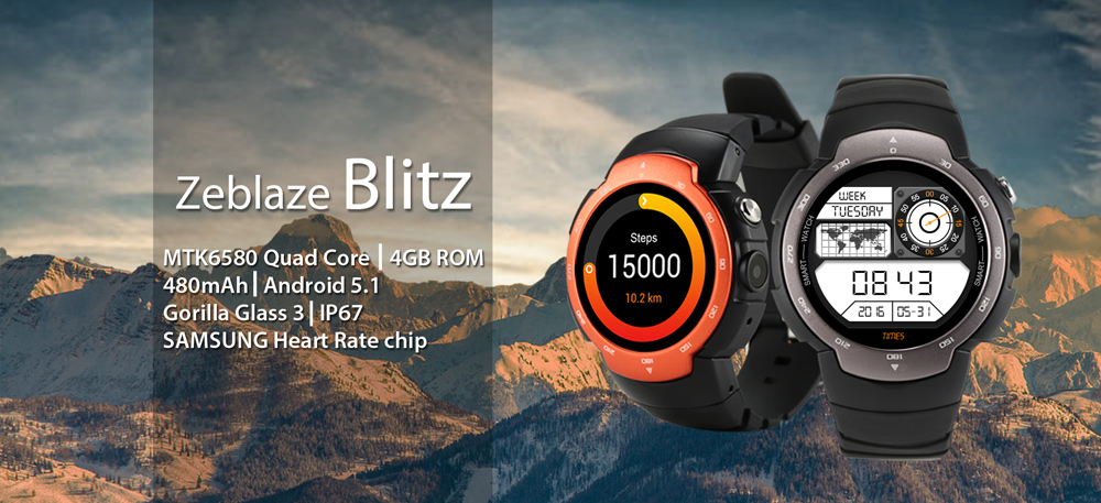 Zeblaze Blitz Android 5.1 1.33 inch Corning Gorilla Glass 3 Screen 3G Smartwatch Phone MTK6580 Quad Core 1.3GHz 512MB RAM 4GB ROM Waterproof Pedometer Heart Rate Monitor
