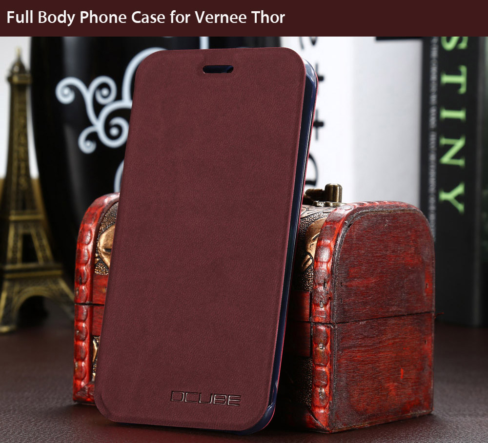 OCUBE PU Leather Full Body Phone Protective Case with Foldable Stand for Vernee Thor