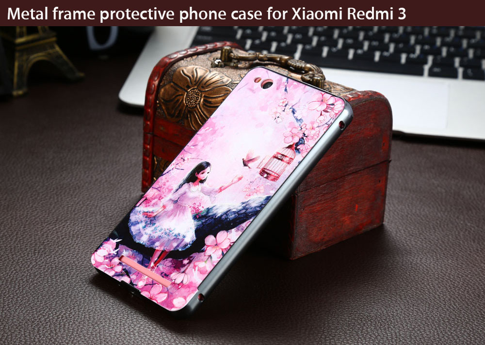 Metal Frame Protective Phone Back Case for Xiaomi Redmi 3 Printing Design Mobile Shell