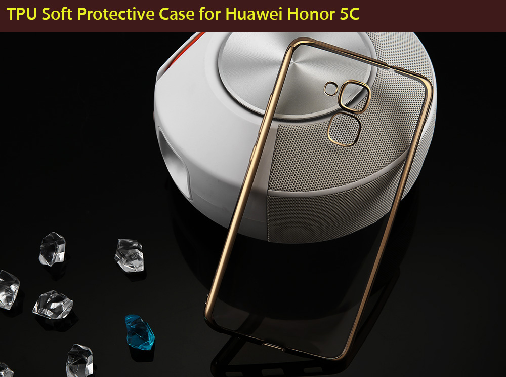 ASLING TPU Soft Protective Case for Huawei Honor 5C Ultrathin Transparent Style Shell with Electroplated Edge