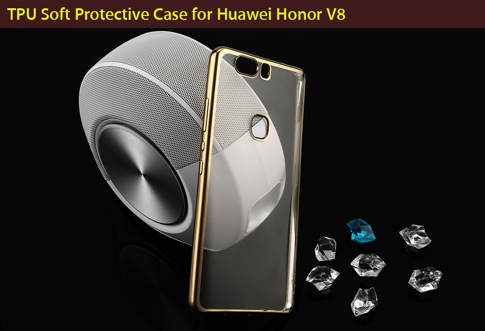 ASLING TPU Soft Protective Case for Huawei Honor V8 Ultrathin Transparent Style Shell with Electroplated Edge