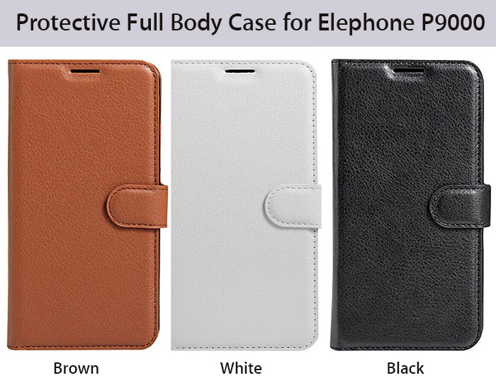 Protective Full Body Flip Wallet Case for Elephone P9000 PU Leather Shell with Stand Card Slot Lichee Pattern