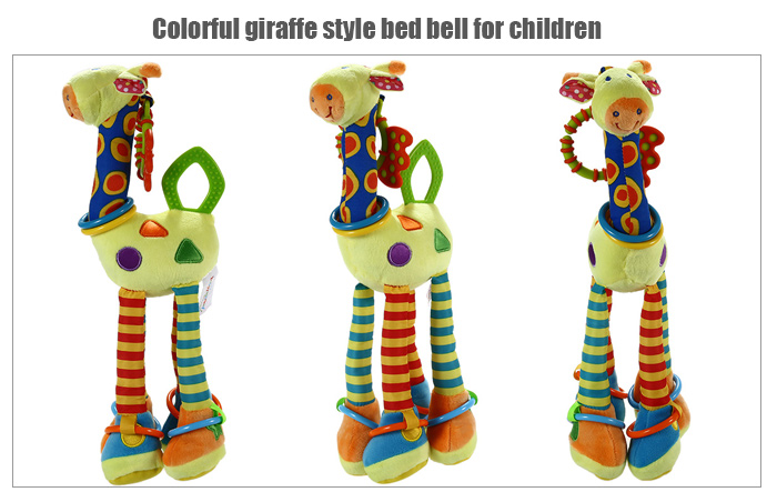 Cartoon Giraffe Hand Bell Ring Rattle Baby Bed Hanging Toy