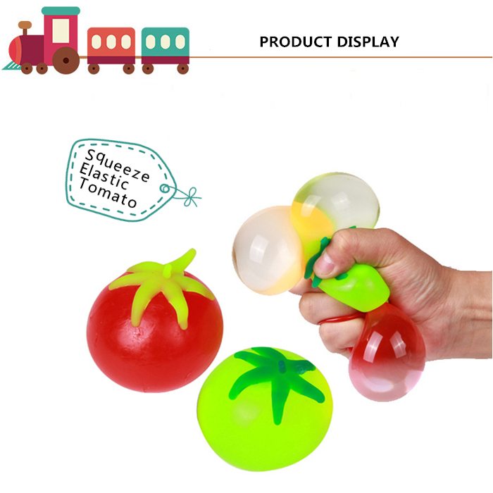 1pc Novelty Elastic Squeeze Tomato Stress Release Vent Relax Toy for Kid