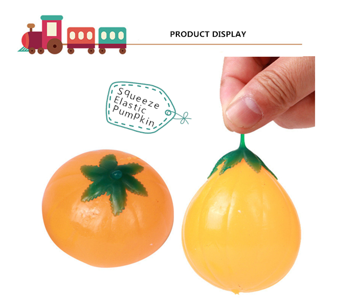 Novelty Elastic Squeeze Pumpkin Stress Release Vent Relax Toy for Kid