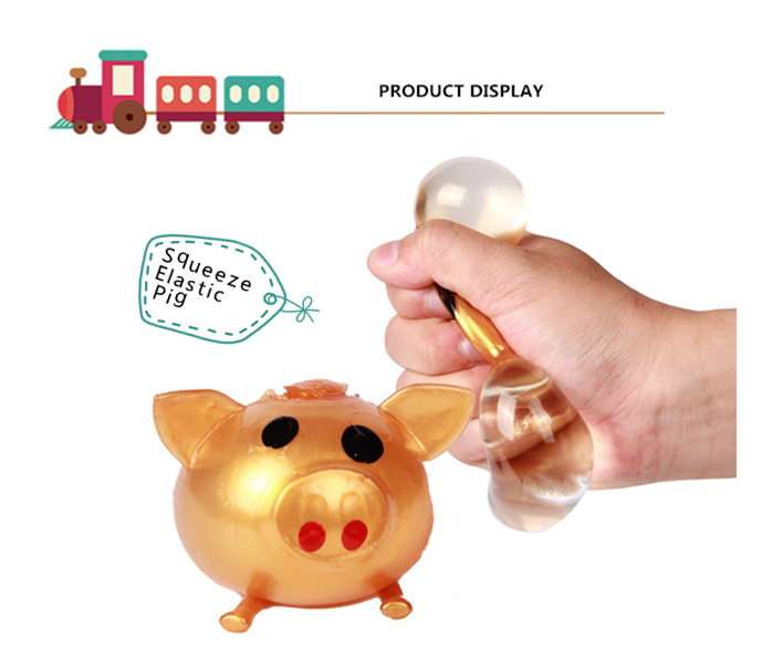 Novelty Elastic Squeeze Pig Pattern Stress Release Vent Relax Toy for Kid