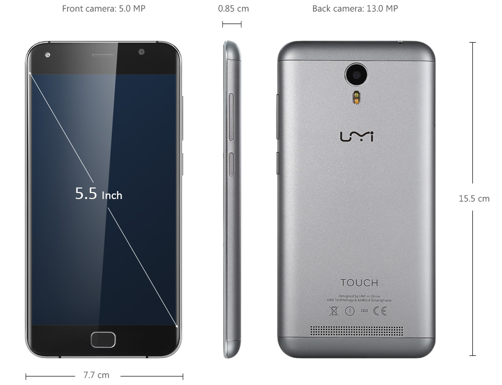 UMI TOUCH Android 6.0 4G Phablet 5.5 inch 2.5D Arc Corning Gorilla Glass 3 Screen MTK6753 64bit Octa Core 3GB RAM 16GB ROM Touch ID 13.0MP Rear Camera Dual WiFi