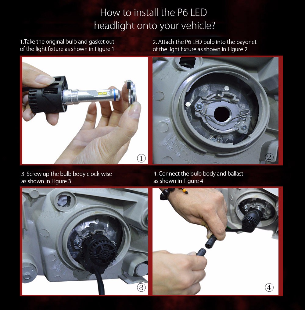 ZY P6 HB3 Car Headlight 55W 5200LM External Light with Philips MZ Chip