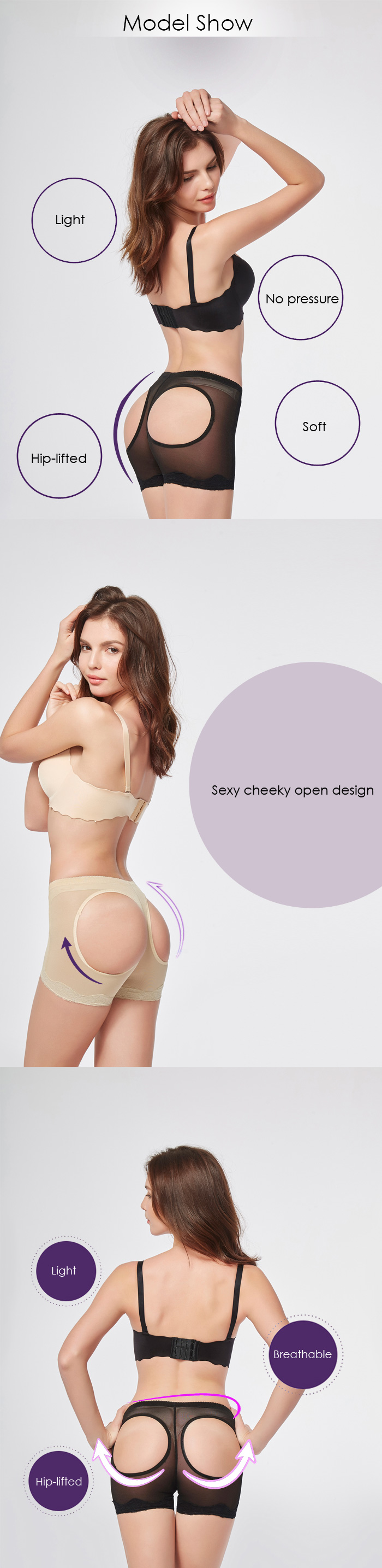 Women Sexy Cheeky Open Girdle Breathable Lace Shorts Underwear Thongs