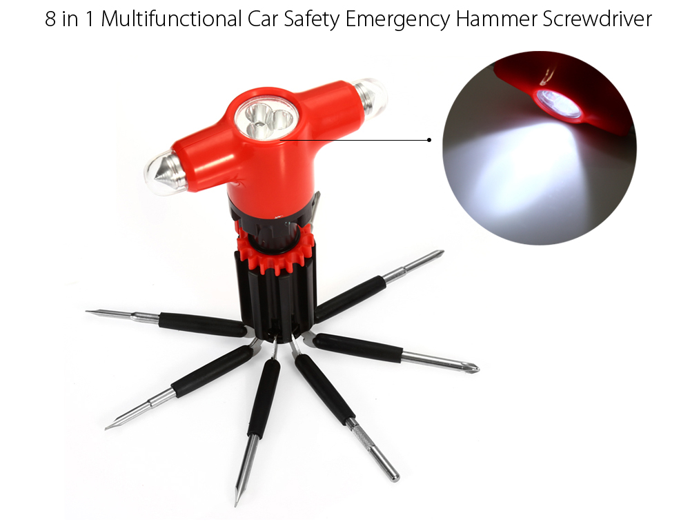 8 in 1 Multifunctional Screwdriver + Double Car Safety Emergency Hammer + Flashlight