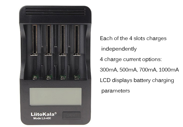 LiitoKala Lii - 400 4 Slots Smart Battery Charger Set LCD Display Fast Charge