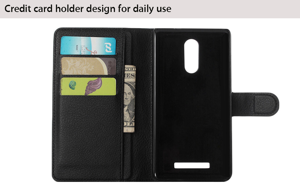 Lichee Pattern Protective Full Body Flip Wallet Case for Xiaomi Redmi Note 3 PU Leather Shell with Stand Card Slot