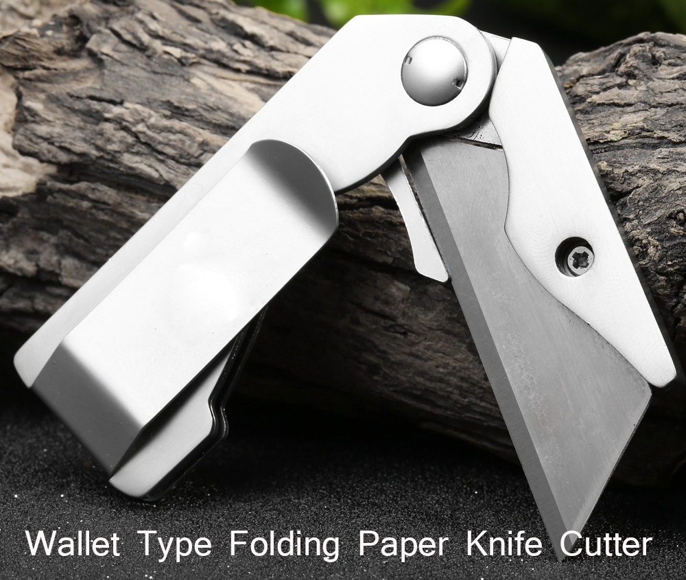 Wallet Type Folding Lock Paper Knife with Pocket Clip