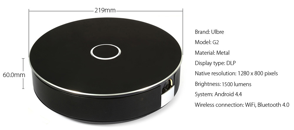 Ulbre G1 Round Pattern DLP Projector Android 4.4 1500 Lumens 1280 x 800 Pixels 1080P HD Media Player BT 4.0 WiFi Connectivity