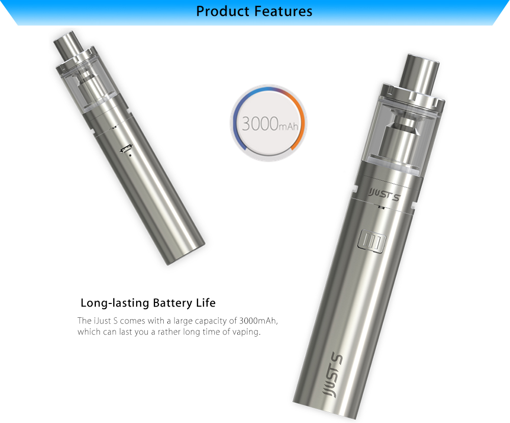 Authentic Eleaf iJust S E Cigarette Starter Kit with 3000mAh Dual Circuit Protection Battery / 4.0ml Top Filling Atomizer