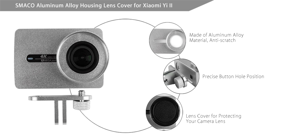SMACO Protective Aluminum Alloy Housing Frame Cage with Lens Cover for Xiaomi Yi II