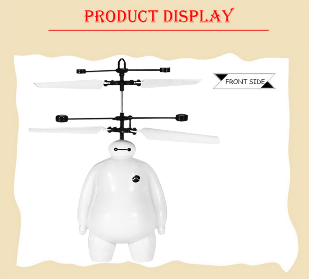 Cartoon Figure Style Induction Helicopter Double Propeller Robotic Toy with Colorful Light