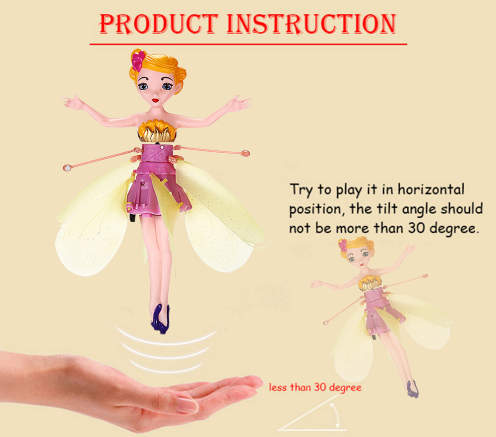 Cartoon Figure Shape Hand Induction Sensor Control Helicopter with Light